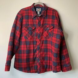 Midwest Traders Insulated Red And Blue Plaid Button Long Sleeved Shirt Size Xl