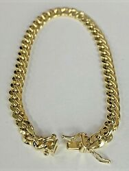 10k Italy Yellow Fine Solid Gold Menand039s Boys Miami Cuban Bracelet 6mm 8.5in