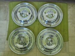 49 50 Ford Accessory Trim Beauty Rings 15 W/dog Dish Hubcaps 8 Pieces 1949 1950