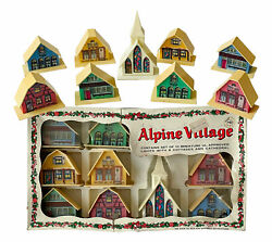Vintage Alpine Village Lighted Christmas Church And Houses With Box