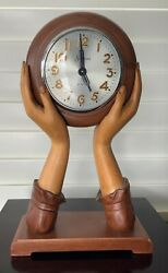 Vintage Sessions 8 Days Wooden Woman's Hands Mantle Clock…working