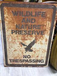 Vintage Wildlife And Nature Preserve No Trespassing Metal Sign / Eagle Graphic