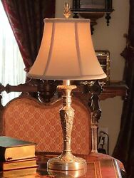 Embossed Nickel Candlestick Lamp Poppies Morning Glory HEAVY w Silk Shade BEAUTY