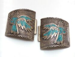 Vtg Sterling Silver Native American Mosaic Turquoise Eagle Watch Ends Tips Ljh