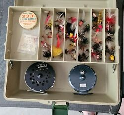 2 Vintage Fly Fishing Reels Noris Shakespeare And Sears + Vintage Fly Lures And...