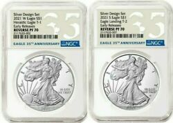 American Eagle 2021 Silver Reverse Proof Designer Edition 2 Coins Ngc Pf70