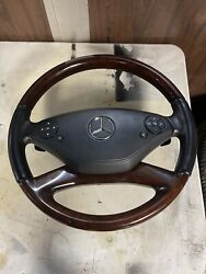 2010-2013 Mercedes S550 Wood Leather Steering Wheel Paddle Shifters And Bag Oem