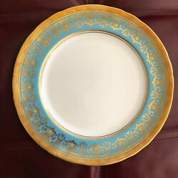 Aynsley Kenilworth Turquoise Gold Encrusted Dinner Plates