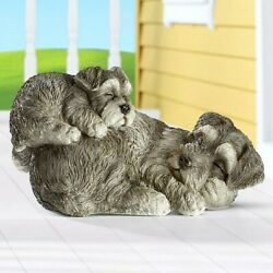 Adorable Napping Dog And Puppy Figurine Statue Figurine Yard Patio Garden Ornament