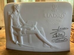 Vintage Lladro Collectors Society Porcelain Sign, 6x4x2, Excellent Condition