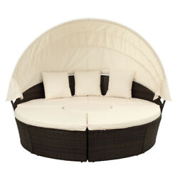 Topmax Patio Furniture Round Outdoor Sectional Sofa Set Rattan Daybed Sunbed Us