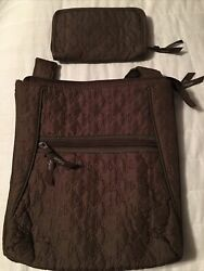 Thirty One Brown Quilted Crossbody And Soft Wallet Set Of 2