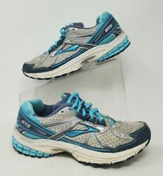 Brooks Dna Gts 13 Womens Sz 7 N Running Training Shoes Turquoise White Silver