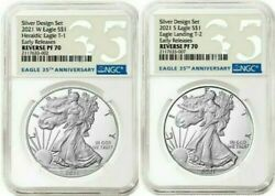 Ngc Pf70american Eagle 2021 One Oz Silver Reverse Proof Two-coin Set Designerandnbsp