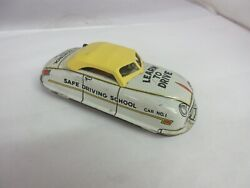 Vintage Marx Wind Up Learn To Drive  Car Tin Toy Nice Condition Works 790-f