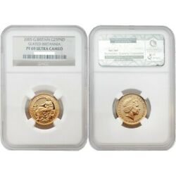 Great Britain 2005 Seated Britannia 25 Pounds 1/4 Oz Gold Ngc Pf69 Sku 1732