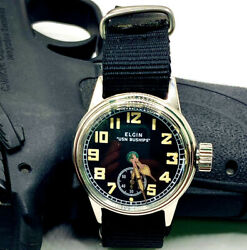Ww2 Elgin Rare Usn Buships Military Wrist Watch Cal 554 With New Nato Strap.