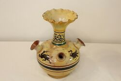 Antique Tribal Pottery Vase Vessel 5 Mouth Openings Animals Scalloped Top