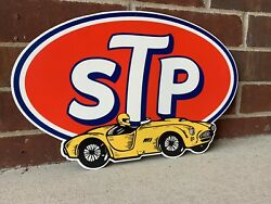 17 Inch Stp Motor Oil Shelby Cobra Vintage Style Die Cut Steel Sign Oil Gas Ford
