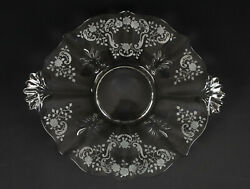 Fostoria Meadow Rose Handled Cake Plate, Vintage Elegant Etched Glass Tray 12