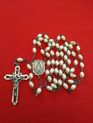 Vintage Sterling And Faux Pearl Rosary From Nunand039s Convent