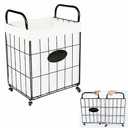 Folding Matel Wire Laundry Basket With Removable Bag Handles Collapsible Large