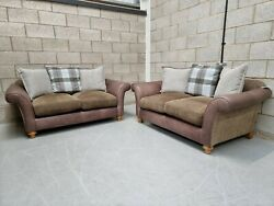 Alexander And James Lawrence Classic Leather And Fabric Pillow Back 2 Seater Sofas