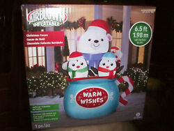 Gemmy 6.5' Airblown Inflatable Christmas Cocoa Mug With Bear And Penguins Inside