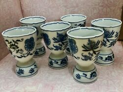 Set 6 Vintage Blue Danube Blue Onion China Double Egg Cups Holders Banner Mark