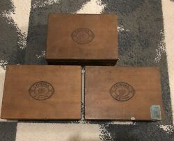 Lot Of 3 Vintage Corina Larks Extra Mild Wooden Cigar Boxes With Hinged Lid