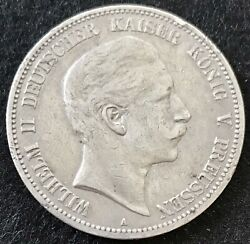 1905 A Silver Germany Prussia 5 Mark Coin Berlin Mint