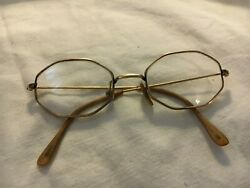 Collectible Octagonal Eye Glasses In Wire Gold Tone Rims, Marked, Used Good