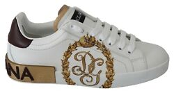 Dolce And Gabbana Shoes Sneakers White Leather Gold Crown Mens S. Eu39 / Us6