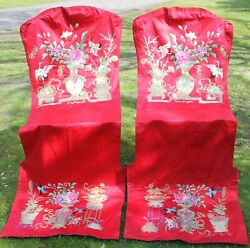 Antique Chinese Embroidered Silk Satin Chair Covers - Pair