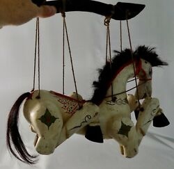 Vintage Hand Carved And Painted Wooden Horse Marionette