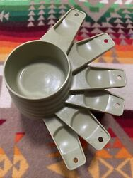 Vintage Tupperware Avocado Green Nesting Measuring Cups Complete Set 6 Stacking