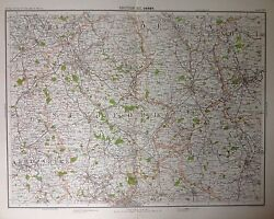 Derby Area - Antique Map C1898 Bartholomew Royal Atlas Of England And Wales