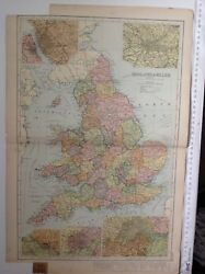 England And Wales 1904 Antique Map, Bacon's Atlas, Original, Liverpool, Manchester