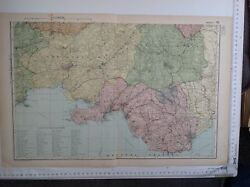 Wales, South, 1904 Antique County Map, Large, Bacon's Atlas, Original