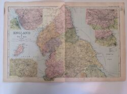 North Of England And Wales 1904 Antique County Map, Large, Bacon's Atlas, Original