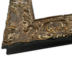 West Frames Vintage Distressed Ornate Wood Wall Picture Frame Brown Gold 2 Wide