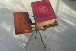 Antique Noyes Early 20th Century Dictionary Stand W/ 1927 Webster Dictionary