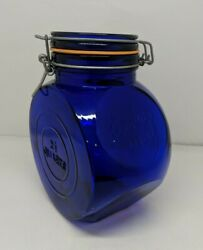 Vintage Cobalt Blue Glass Hexagon Canister Vandor Imports Made In Italy 1971