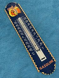 12in Silent Chief Indian Porcelain Thermometer Sign Gas Gasoline Oil Gasoline