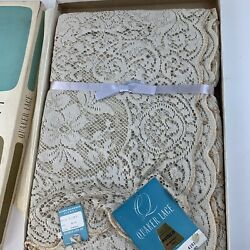 Quaker Lace Vintage Tablecloth 72 X 90 Gala 4191 New In Box With Avisco Fibers