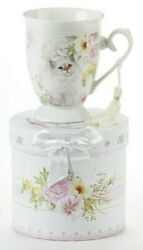 NEW PEONY CAT PORCELAIN MUG IN GIFT BOX Cottage French Garden CUP Gift Set 4.6quot;
