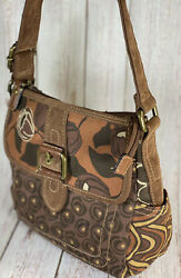 Fossil Canvas Crossbody Brown Floral NWOT