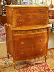 gorgeous French Mixed Wood Marble Top High Chest Dresser Circa 1920and039s