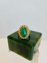Vintage 18 Kt Gold A Jade Natural Apple Green Cabochon Seed Pearl Ring, 6.5.