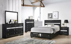 Contemporary Style King Size 5pc Storage Footboard Drawers Bed Set Furniture